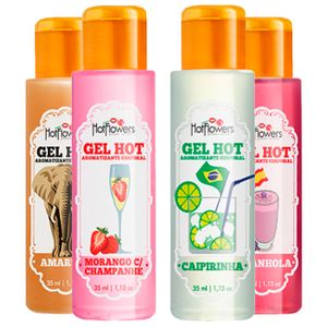 KIT GEL ORAL TÉRMICO HOT BEIJÁVEL 4 UNIDADES HOT FLOWERS