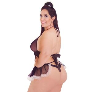 FANTASIA EMPREGUETE DO DESEJO PLUS SIZE HOT FLOWERS
