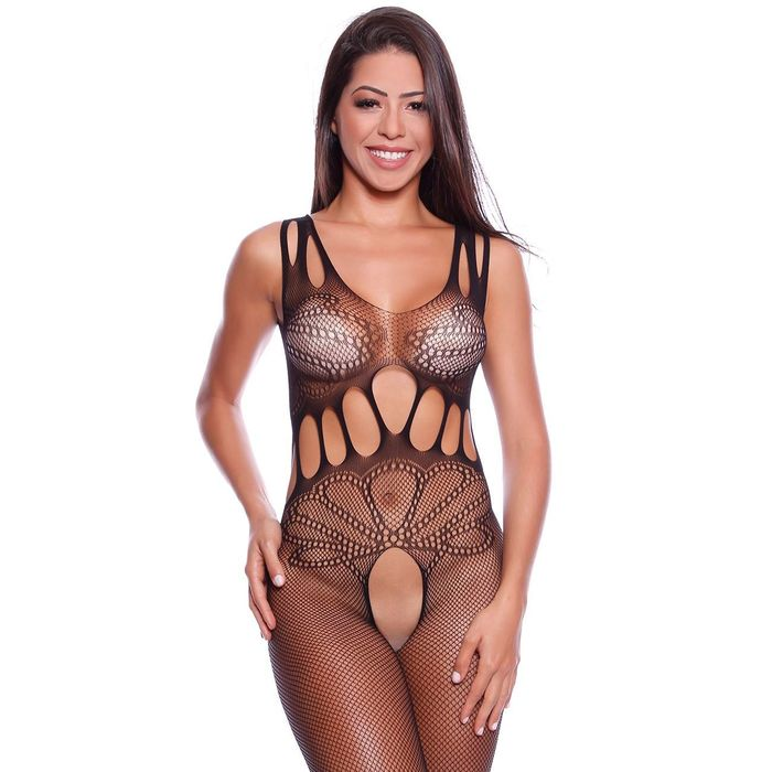 BODY STOCKING ARRASTÃO COM ABERTURA