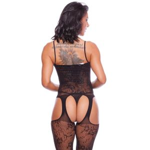 MACACÃO ROSE RENDADO BODYSTOCKING