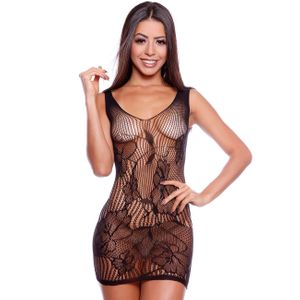 Camisola Sensual Renda Arrastão Body Stocking