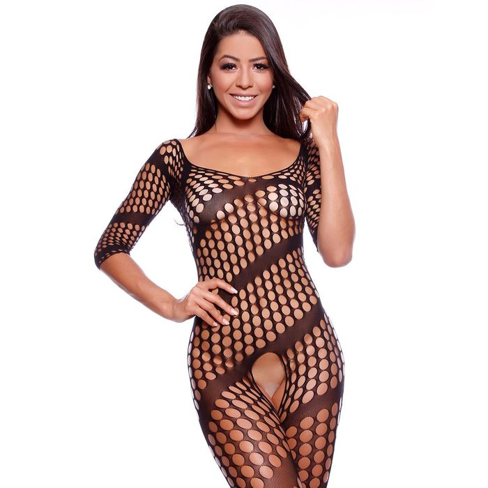 Macacão Arrastão Manga Longa Body Stocking