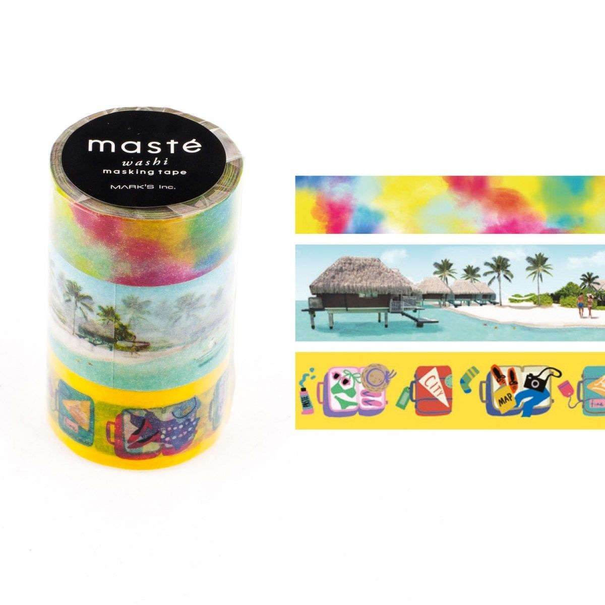 WASHI TAPE MASTÉ TRAVEL 4 KIT C/ 3