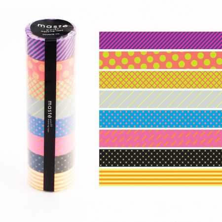 WASHI TAPE MASTÉ NEON PATTERN MIX KIT C/ 8
