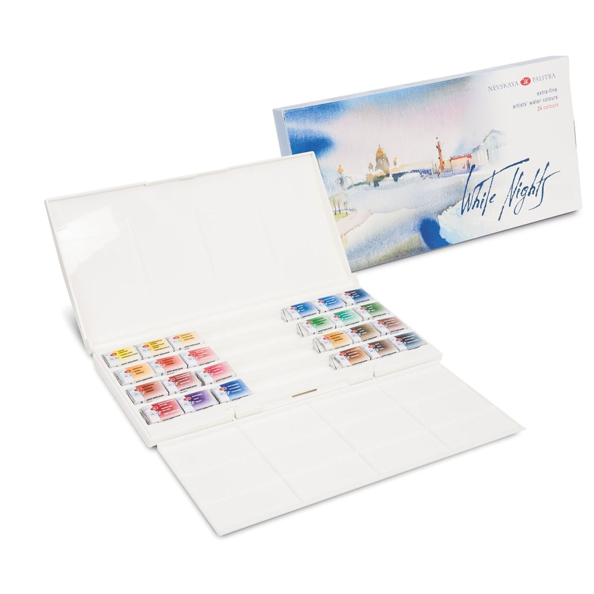 KIT AQUARELA WHITE NIGHTS EM PASTILHA 24 CORES