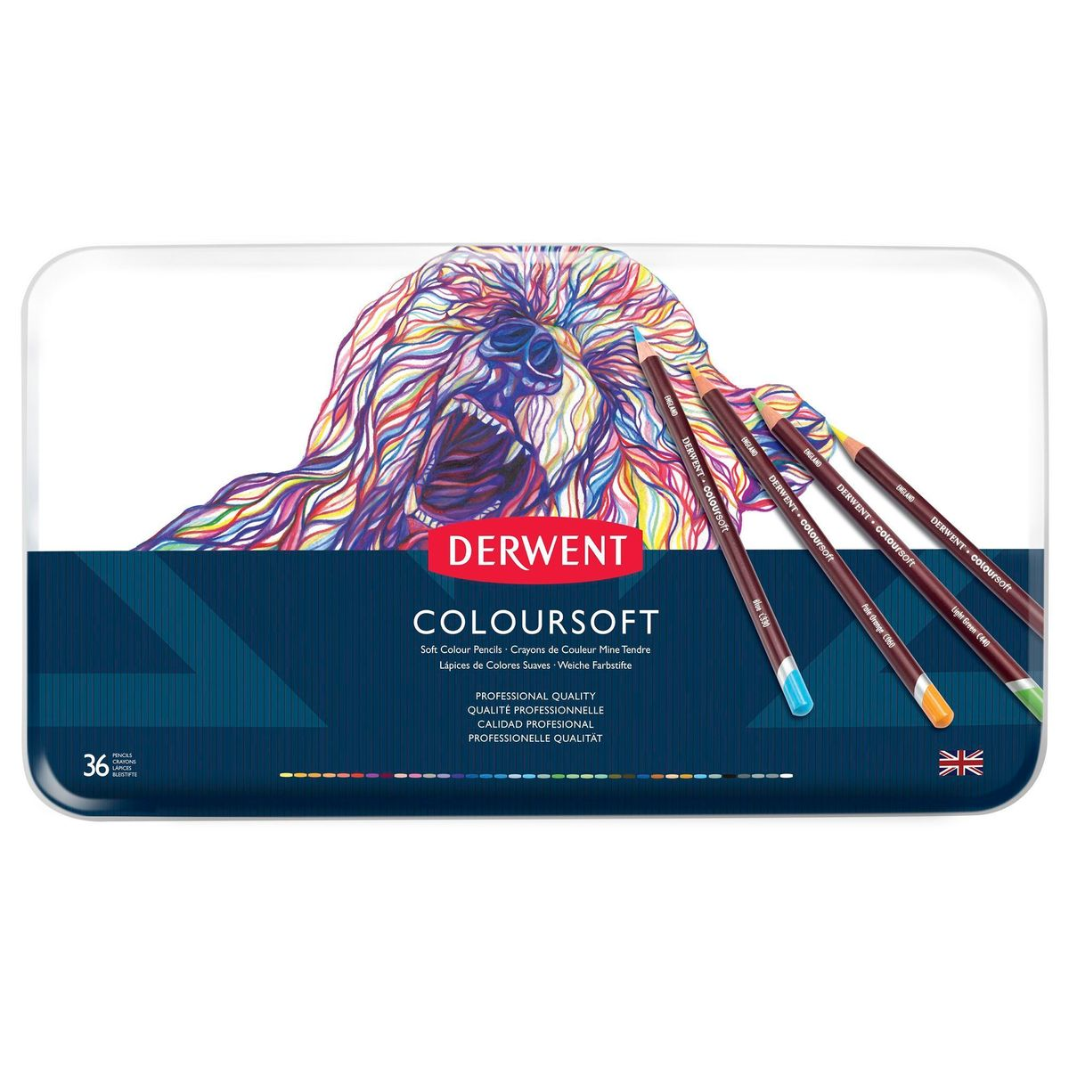 Kit Lápis Derwent Coloursoft c/ 36 cores