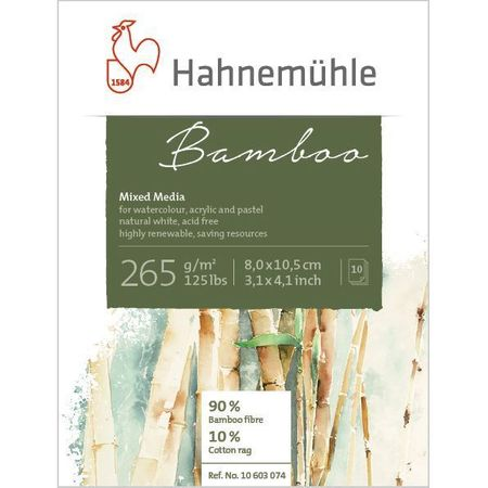 Papel Hahnemühle Bamboo Mixed Media (8x10,5cm) 256g/m² 10 folhas