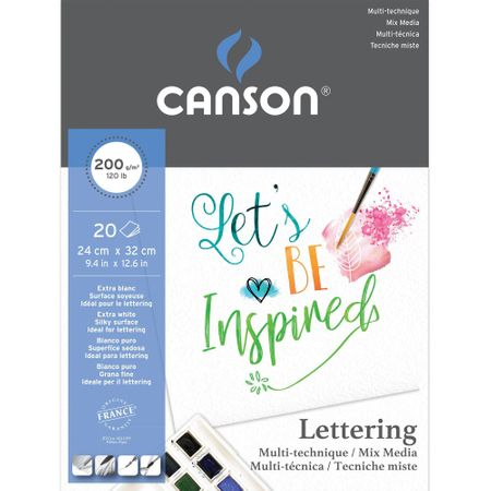 Papel Canson Lettering Mix Media A4+ 200 g/m² 20 folhas