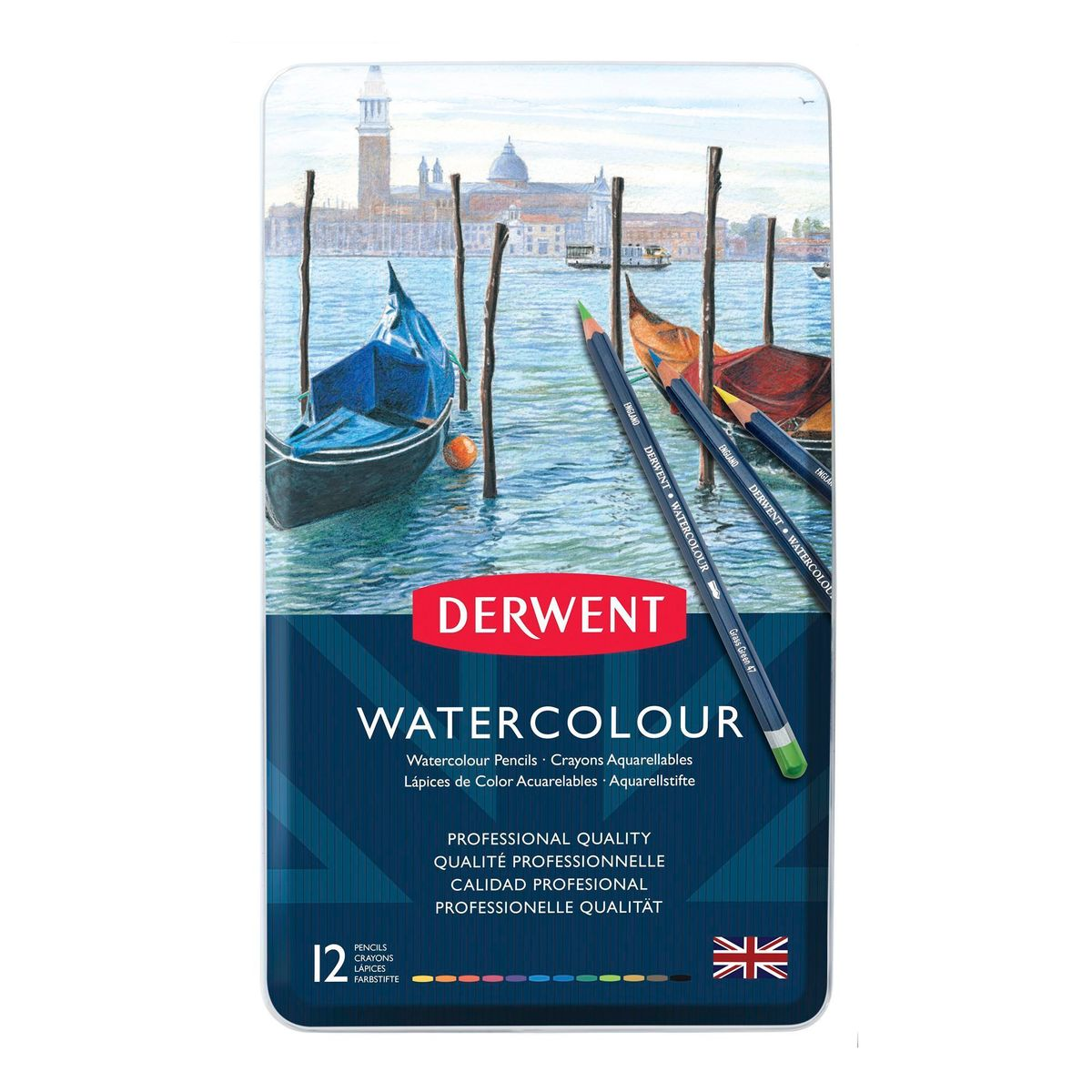 Kit Lápis Derwent Watercolour C/ 12 Cores