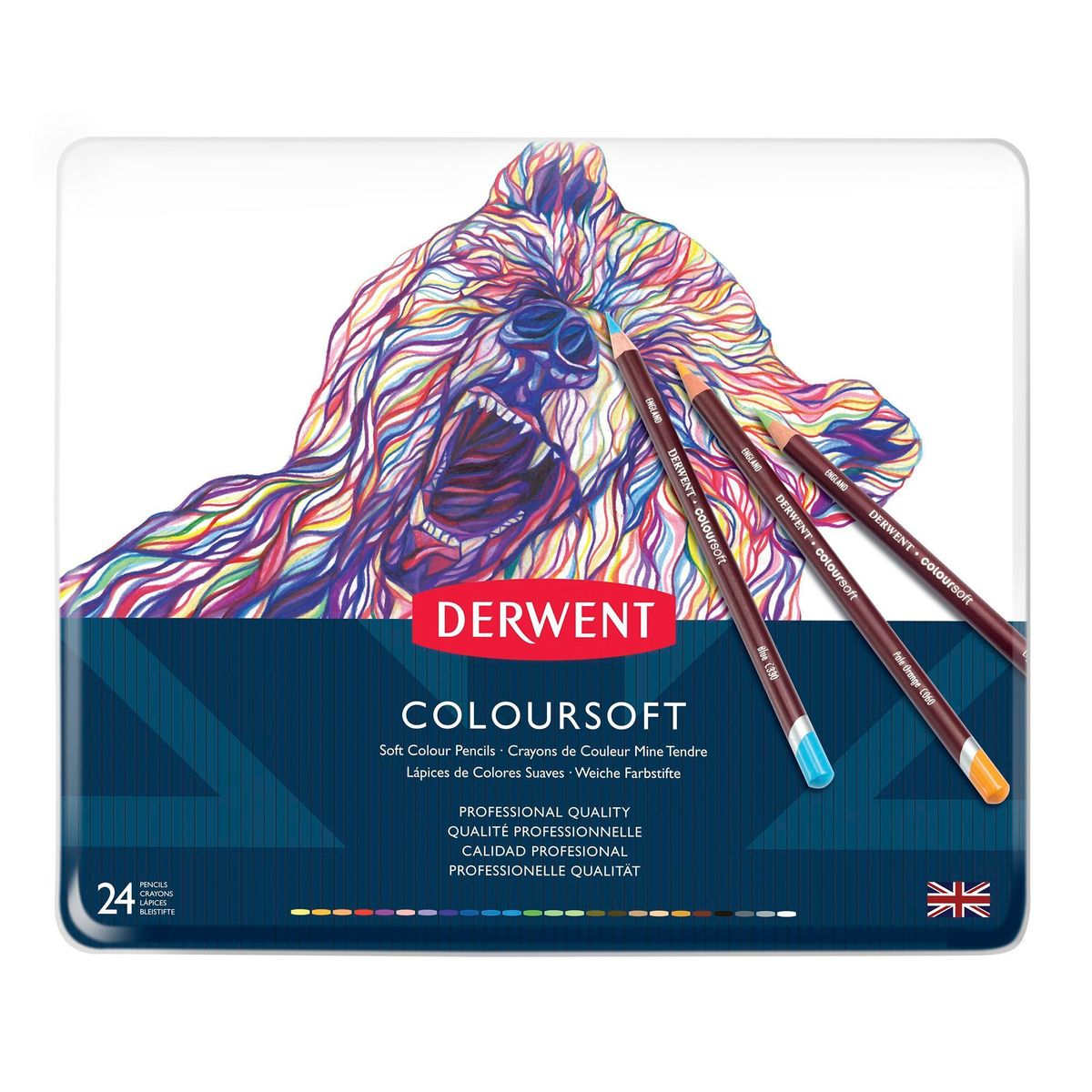 Kit Lápis Derwent Coloursoft C/ 24 Cores