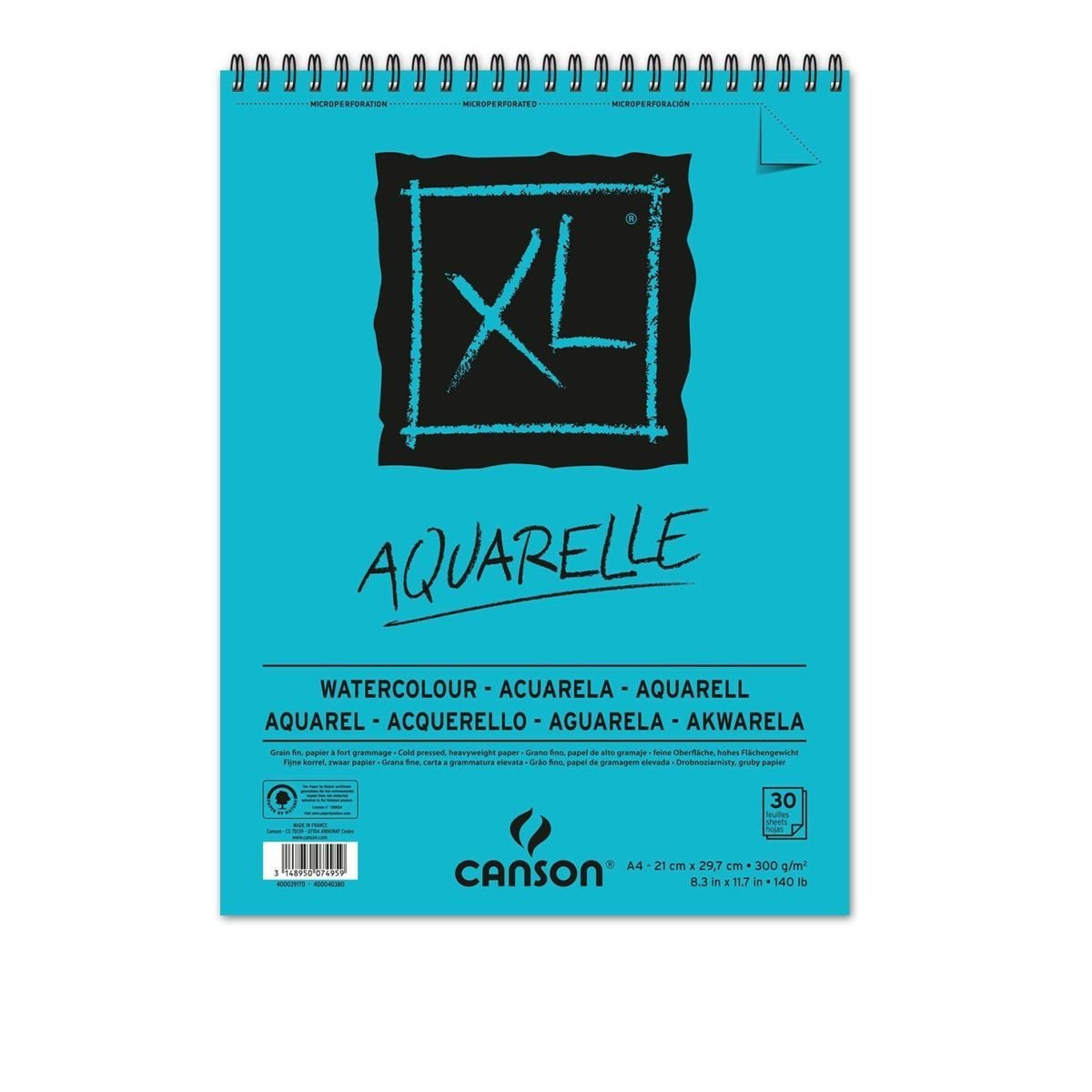 Sketchbook Canson Xl Aquarelle A4 300g/m² 30 Folhas