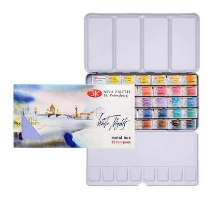 Kit Aquarela White Nights Pastilha 2,5ml C/ 35 Cores  (caixa De Metal)