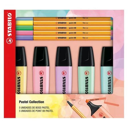 Kit Canetas E Marcadores Stabilo Pastel Collection C/ 10 Unidades