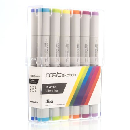 KIT COPIC SKETCH 12 CORES - VIBRANTES
