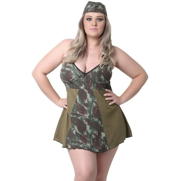 KIT FANTASIA PLUS SIZE MILITAR PIMENTA KENTE