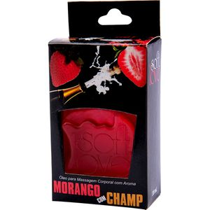PACK 10 GÉIS HOT MORANGO COM CHAMPANHE 30ML SOFT LOVE