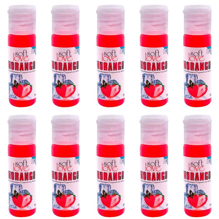 PACK 10 GÉIS ICE MORANGO 15ML SOFT LOVE