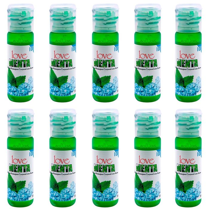 PACK 10 GÉIS ICE MENTA 15ML SOFT LOVE