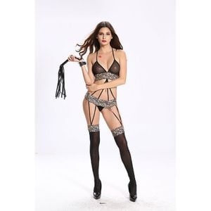 Body Stocking Com Liga Rendado Sexy Import