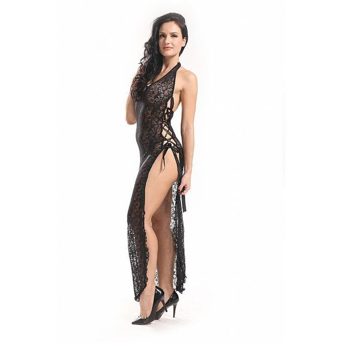 Body Stocking Vestido Longo Rendado Sexy Import
