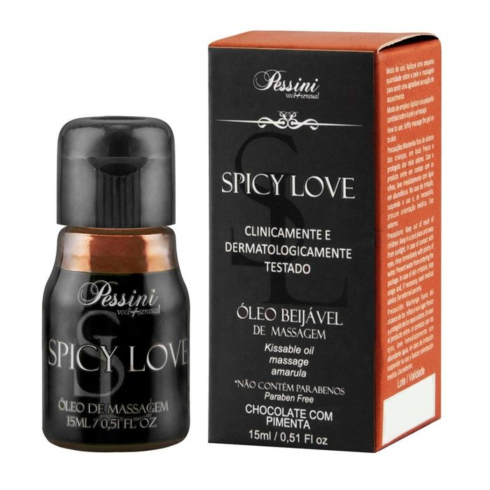 Gel Comestível Térmico Esquenta Spicy Love Sabor Chocolate com Pimenta 15 ML - Pessini