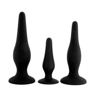 PRETTY LOVE BEGINNER'S MINI ANAL KIT - Kit com 3 Plugs Anais em Silicone Soft Touch | COR: PRETO