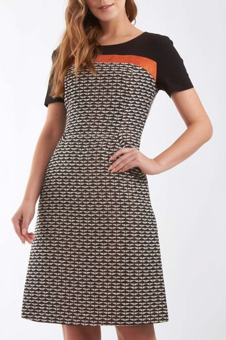 Vestido tweed tricolor