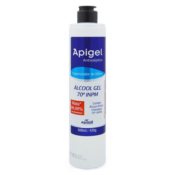 Apigel álcool Gel 70% Antissépitico 500ml Apinil