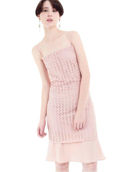 f62daff0f Vestido de alça com tecido vazado rosê ROSE