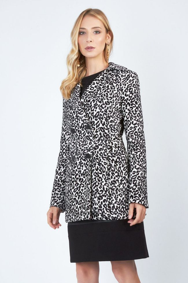 Casaco Trench Coat Estampado Animal Print