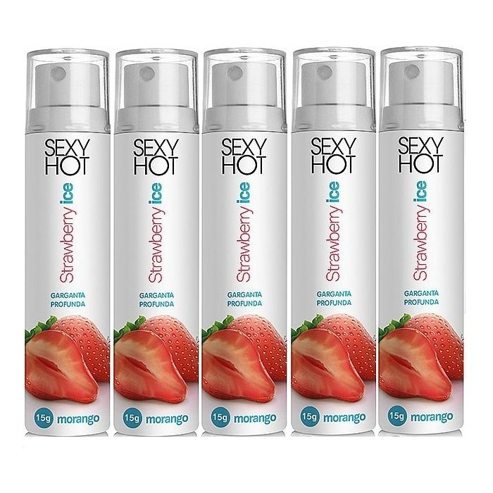 KIT 5 UNID. SPRAY P/ SEXO ORAL GARGANTA PROFUNDA STRAWBERRY 15G ADÃO E EVA