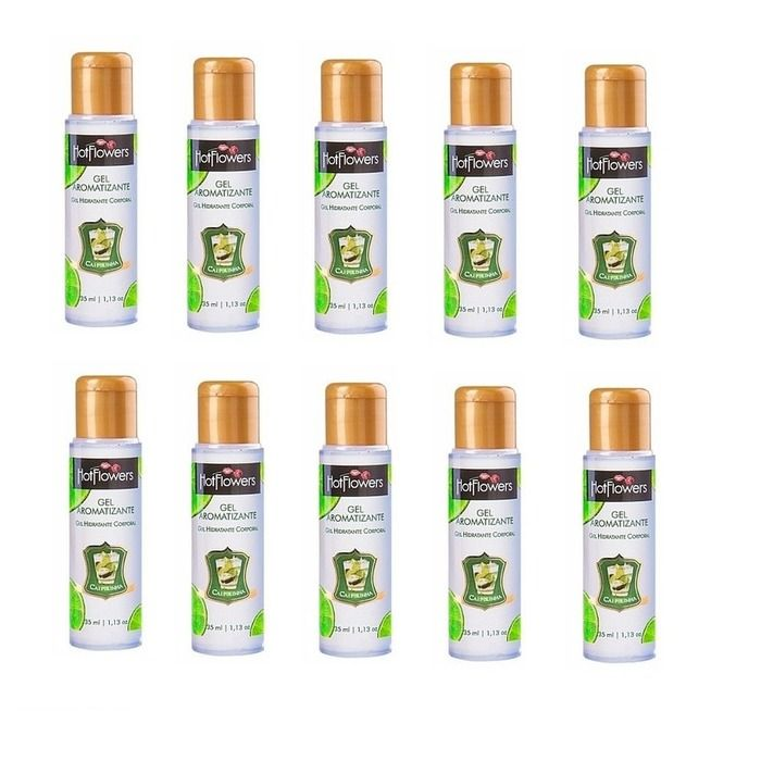 Kit 10 Unid. Gel Comestível Aromatizante Hot 35ml Caipirinha Hot Flowers