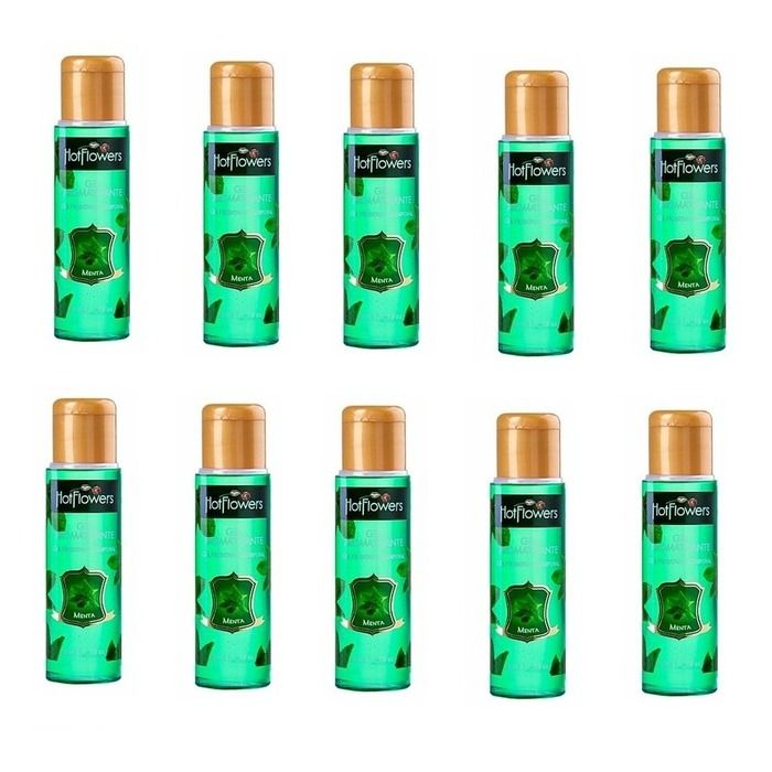 Kit 10 Unid. Gel Comestível Aromatizante Hot 35ml Menta Hot Flowers