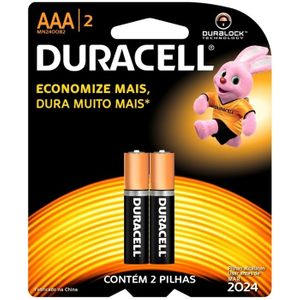 Pilha AAA Palito Comum c/ 2 Unid. Duracell
