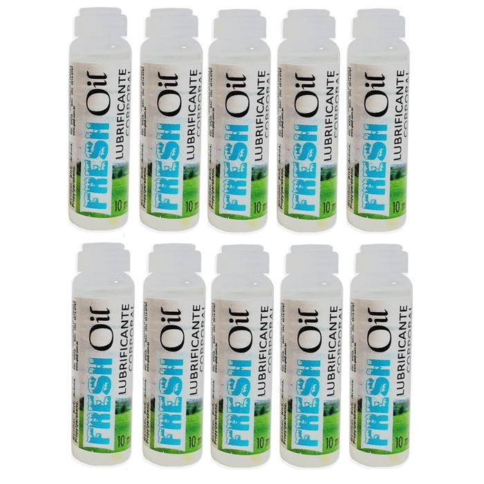 Kit 10 Unid. Lubrificante Excitante Fresh Oil 10ml Garji