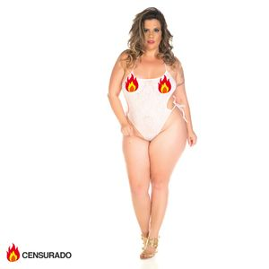 Body Renda Plus Size Branco
