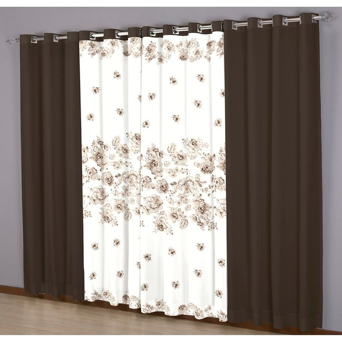 Cortina Floral Chocolate 300x250cm - Sultan