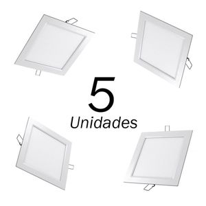 5 PAINEIS A LED SLIM EMBUTIR QUADRADO 18W 225x225MM BIVOLT LEDGOLD