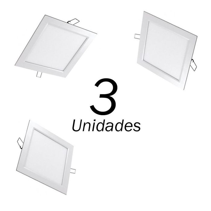 3 PAINEIS A LED SLIM EMBUTIR QUADRADO 18W 225x225MM BIVOLT LEDGOLD