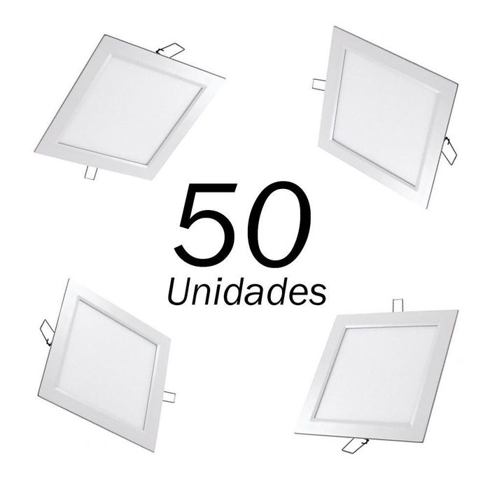 50 PAINEIS A LED SLIM EMBUTIR QUADRADO 18W 225x225MM BIVOLT LEDGOLD