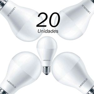 20 Lâmpadas Led Bulbo 7w E27 3000k Ledgold