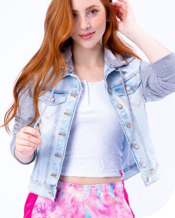 Jaqueta Jeans Manga Moletom