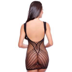CAMISOLA BODYSTOCKING ARRASTÃO DECOTE