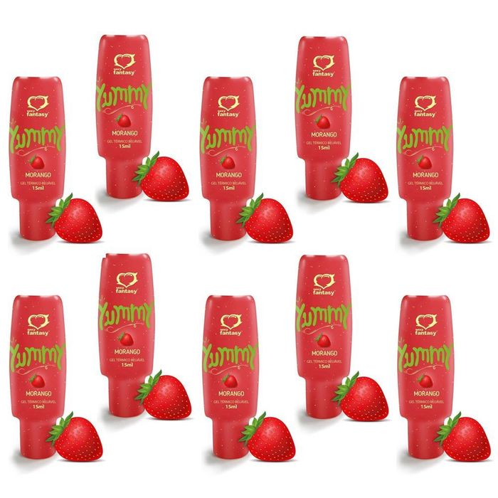 PACK 10 YUMMY MORANGO GEL COMESTÍVEL 15ML SEXY FANTASY