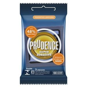 PRESERVATIVOS SUPER SENSITIVE COM 3 UNIDADES PRUDENCE