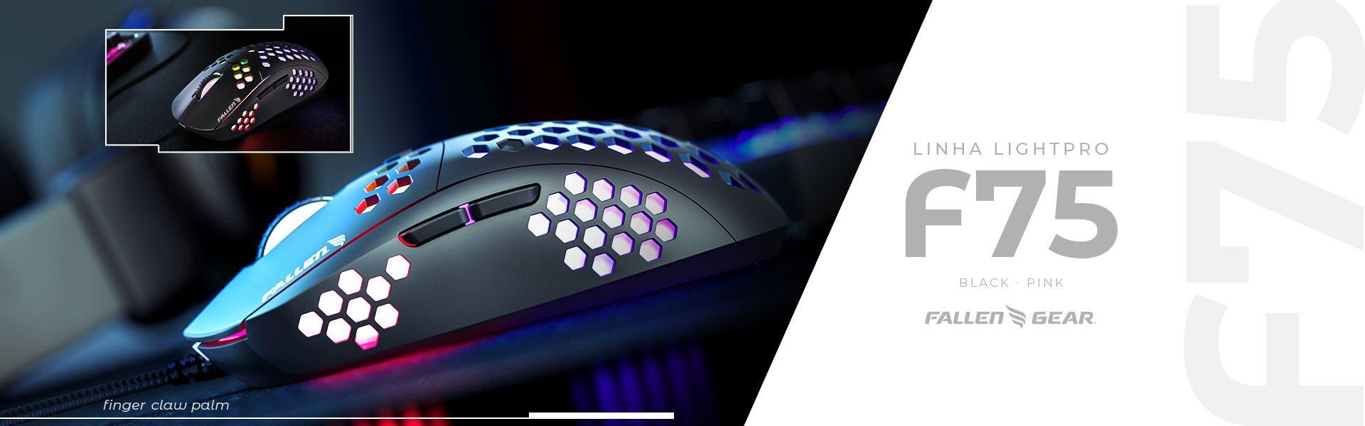 Mouse Gamer F75 Black