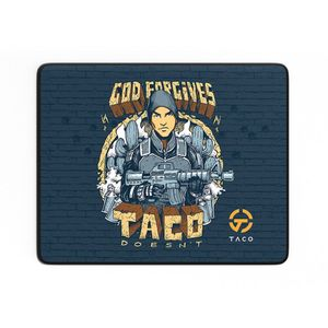 MOUSEPAD GAMER TACO GOD FORGIVES AZUL SPEED - 355MM X 444MM
