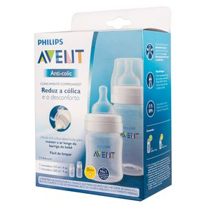 KIT MAMADEIRAS ANTI-COLIC TRANSPARENTE 125ML E 260ML  -  AVENT