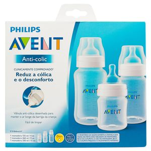 KIT MAMADEIRAS ANTI-COLIC TRANSPARENTE  125ML E 260ML E 330 ML  -  AVENT
