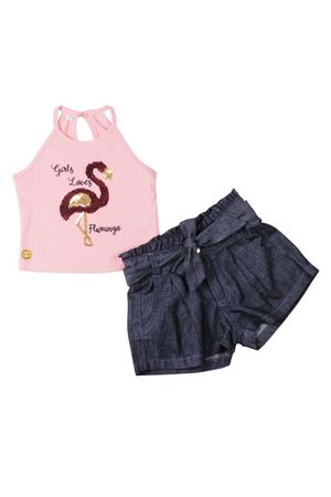 CONJ.SHORTS JEANS FLAMINGO